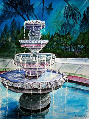 Water Fountain Acrylic Painting Art Print Art Print by Derek Mccrea
