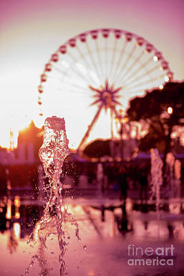 Photograph - Water Fountain And Ferris Wheel by Mats Silvan