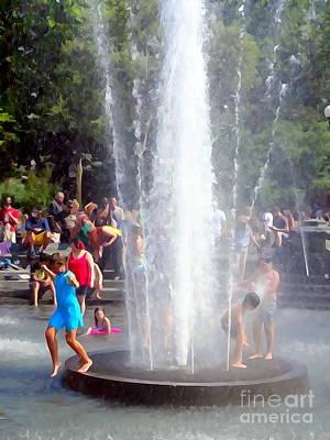 Photograph - Water Fountain Fun by Ed Weidman
