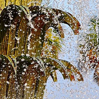 Photograph - Water Fountain Yellow Charleston Sc by Lori Kesten