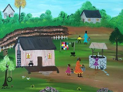 Folk Art Painting - Water From The Well by Lisa Cain