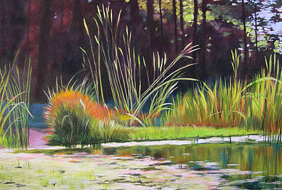 Water Garden Landscape Art Print by Melody Cleary