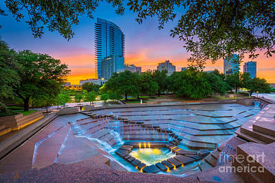 Landmarks Royalty-Free and Rights-Managed Images - Water Gardens Sunset by Inge Johnsson