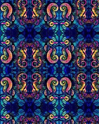Digital Art - Water Horse Wall Paper by Megan Walsh