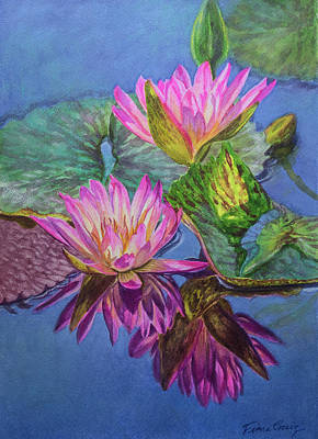 Pool Mixed Media - Water Lilies 16 Sunfire by Fiona Craig