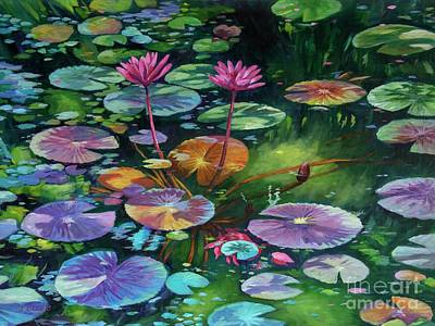 Lilies Royalty-Free and Rights-Managed Images - Water Lilies 2 by John Clark