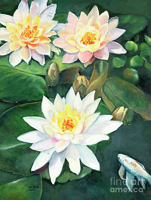 Painting - Water Lilies And Koi by Marlene Book