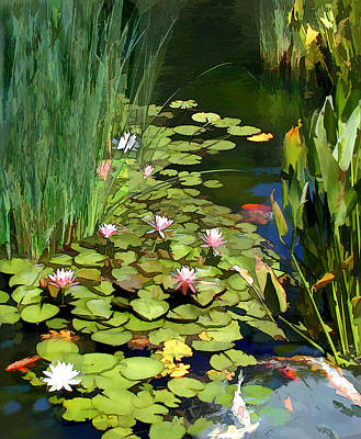 Tree Blossoms Painting - Water Lilies And Koi Pond by Elaine Plesser