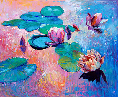 Lilly Pond Drawing - Water Lilies by Boyan Dimitrov