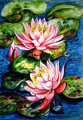 Print featuring the painting Water Lilies  by Harsh Malik