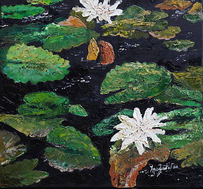 Painting - water lilies II by Marilyn Zalatan