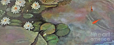 Painting - Water Lilies Late Afternoon by Marlene Book