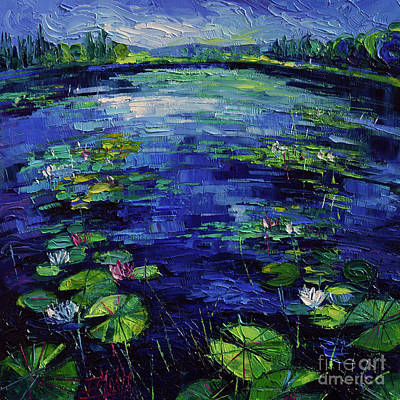 White Water Lily Painting - Water Lilies Magic by Mona Edulesco