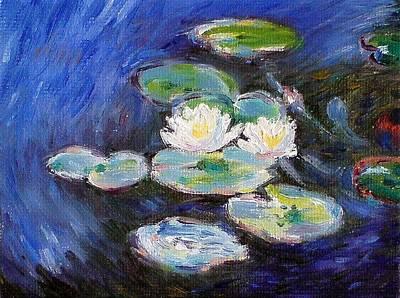 Green Painting - Water Lilies by Peter Kupcik