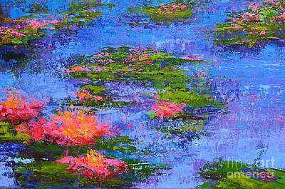 Painting - Waterlilies Lily Pads - Modern Impressionist Landscape Palette Knife Work by Patricia Awapara