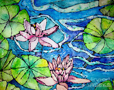 Tropical Colors Stain Glass Painting - Water Lilies Stained Glass Watercolor by Caitlin Lodato