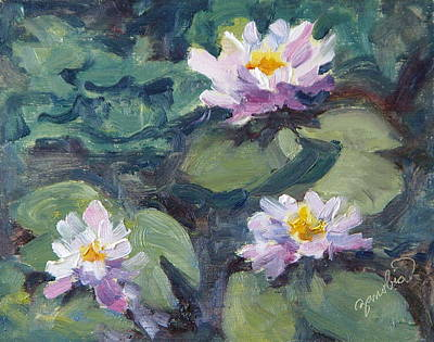 Zanobia Painting - Water Lilies by Zanobia Shalks