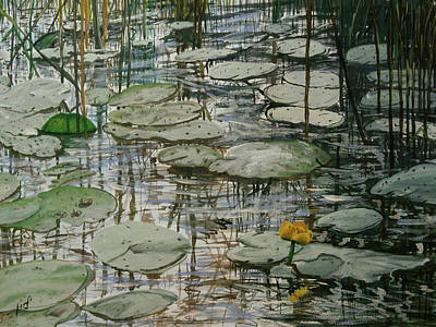 Oval Office Painting - Water Lilly by Maria Woithofer