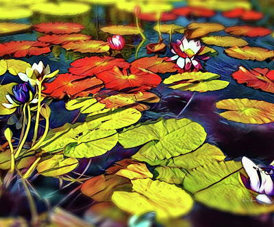 Blooming Digital Art - Water Lilly Pond by Russ Harris