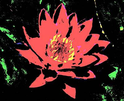 Mixed Media - Water Lily Abstract by Angela Davies
