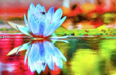 Photograph - Water Lily And Bee Pastel by Carol Montoya