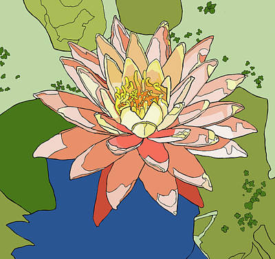 Water Lily And Duck Weed Art Print