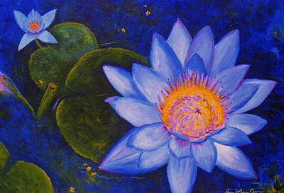 Water Lily Art Print by Anne Marie Brown