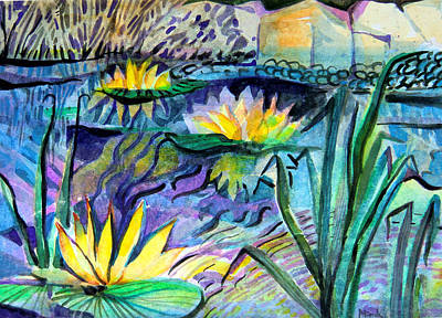 Jazz Age Mixed Media - Water Lily Blues by Mindy Newman