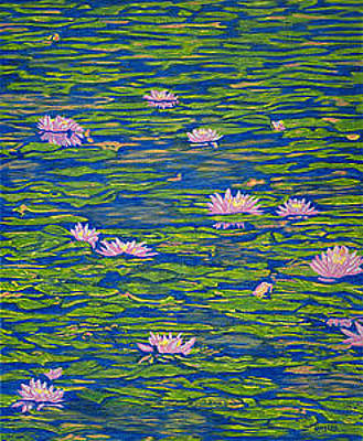 Lilies Drawings - Water Lily Flowers Happy Water Lilies Fine Art Prints Giclee High Quality Impressive Color Lotuses by Baslee Troutman
