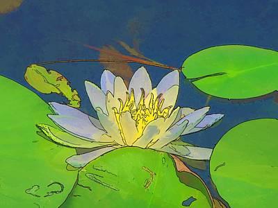 Art Print featuring the digital art Water Lily by Maciek Froncisz