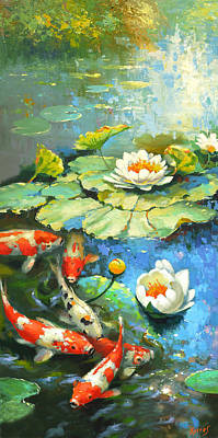 Painting - Water Lily Or Solar Pond      by Dmitry Spiros