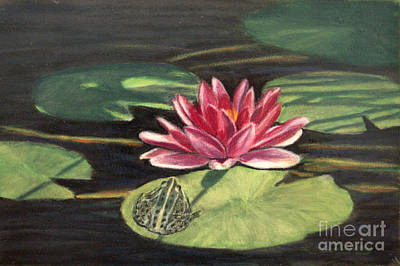 Lilies Drawings - Water Lily Patio by Lora Duguay
