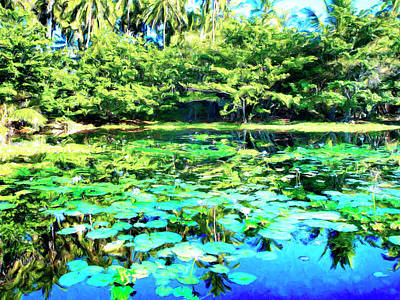 Painting - Water Lily Pond At Punaluu by Dominic Piperata