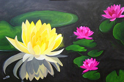 Water Lily Pond  Art Print by Una  Miller