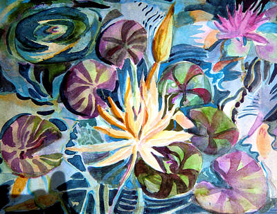 Water Lily Reflections Original by Mindy Newman