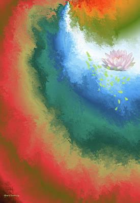 Mixed Media - Water Lily Swirl by Rosalie Scanlon