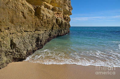 Water Meets Sand And Cliff Art Print by Angelo DeVal