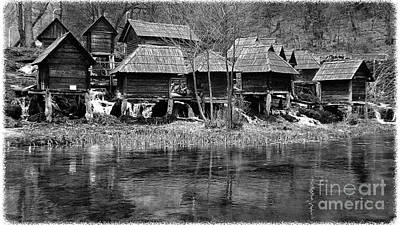 Water Mills On The River Pliva Art Print by Zoran Kepic