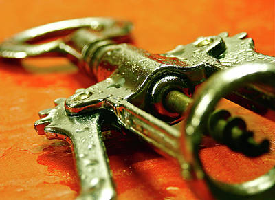 Vino Photograph - Water Misted Corkscrew Closeup by Mark Delfs