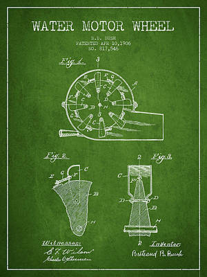 Electrical Digital Art - Water Motor Wheel Patent From 1906 - Green by Aged Pixel