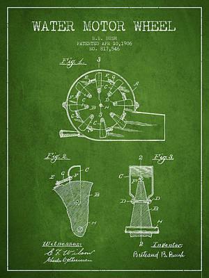 Water Motor Wheel Patent From 1906 - Green Art Print