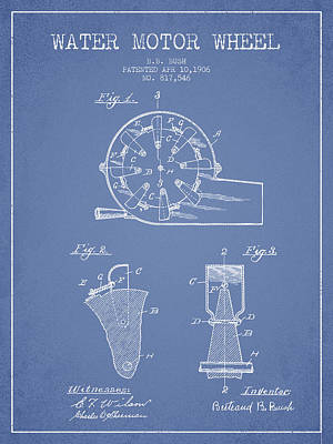 Electrical Digital Art - Water Motor Wheel Patent From 1906 - Light Blue by Aged Pixel