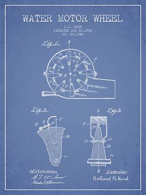 Water Motor Wheel Patent From 1906 - Light Blue Art Print