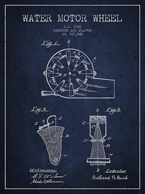 Electrical Digital Art - Water Motor Wheel Patent From 1906 - Navy Blue by Aged Pixel