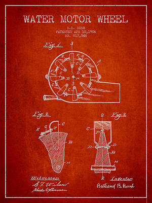 Electrical Digital Art - Water Motor Wheel Patent From 1906 - Red by Aged Pixel