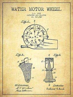 Electrical Digital Art - Water Motor Wheel Patent From 1906 - Vintage by Aged Pixel