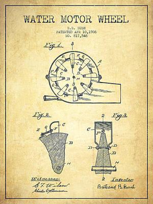 Water Motor Wheel Patent From 1906 - Vintage Art Print