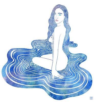 Bathing Mixed Media - Water Nymph Cii by Stevyn Llewellyn