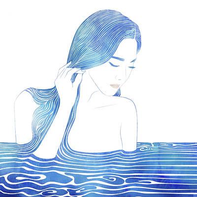 Bathing Mixed Media - Water Nymph Lxix by Stevyn Llewellyn