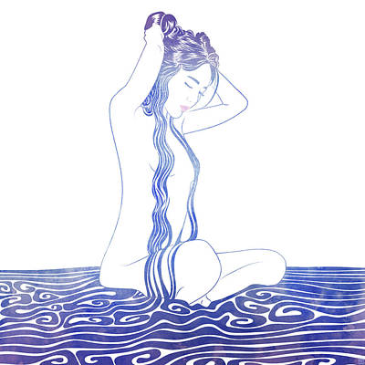 Bathing Mixed Media - Water Nymph Lxviii by Stevyn Llewellyn